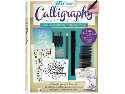 Art Maker Complete Calligraphy Kit 48 Page Book 3 Nibs 12 Inks Scratch Pad Kids