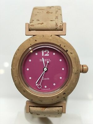 Breil Watch Swiss Made Vintage Cork 1 5/16in Pink Discounted New
