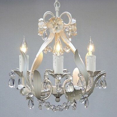 Crystal Ceiling Chandelier 4 Light White Fixture Pendant Small Vintage Antique