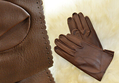 Elegant ladies gloves, hand made ​​of fine sheepskin in brown color, size 8
