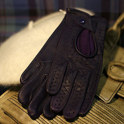 Elegant driving gloves, hand made ​​of fine sheepskin in purple color, size 6,5