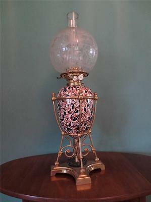 Antique Victorian(1880)Ceramic Wright & Butler Oil Lamp With Etched Globe Shade