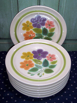 "7 Franciscan China Earthenware Multi Color Floral Dinner Plates 10-1/2"" Nice"