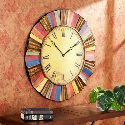 Oversized Wall Clock Rustic Large Antique Style Roman Numeral Big Decorative