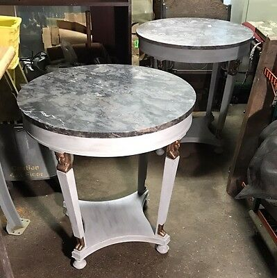 Pair Of Antique Painted Neo Classical Marble Top Tables