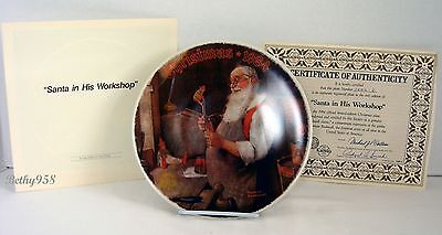 """""""santa In His Workshop""""~Knowles Ltd Ed~Norman Rockwell Collector Plate 1984~Euc"""