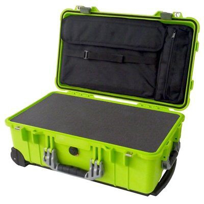 Lime Green & Silver Pelican 1510 With Pick & Pluck Foam & Computer lid pouch.