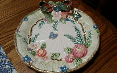 "Signed Fitz & Floyd 3D Art China Plate-Roses/Butterfly & Bow -m 9"" Round"