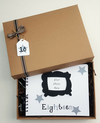 "18th birthday guest book, milestone birthday memory book, 10""x8"" boxed scrapbook"