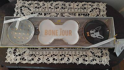 DogHaus 3 piece Bone Jour French Bulldog Catch All Trays Gift Set New w Tags