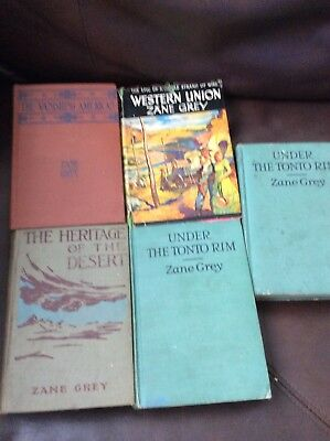 Lot of 5 Early 1900s Antique Hardback Old Western Books By Zane Grey, 1910 +