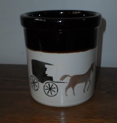 Robertson Ransbottom Pottery Rrp Crock, Amish Themed ~ Roseville, Oh ~ Nice!!