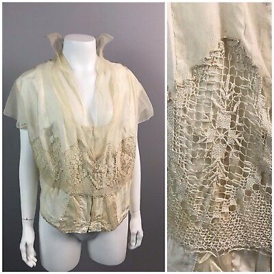 RARE Antique 1910s Ivory Sheer Silk Blouse Top with Standing Collar Gothic L