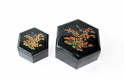 Vintage Asian Black Lacquer Ware Floral Jewelry Trinket Box Hong Kong Set of 2