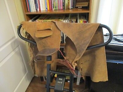 Vintage Chaps Great Wall Hanging For Western Decor Heavy Rough-Out Leather