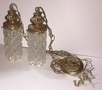 Vintage MCM Hollywood Regency Cut Glass Globe Light Fixture Swag Hanging Pendant