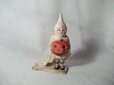 Cast Iron Halloween Ghost Girl Holding Pumpkin Trick Or Treat Still Coin Bank