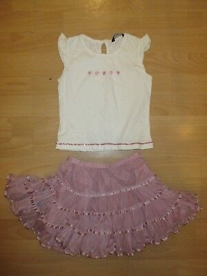Girls pretty party skirt dusky pink and top age 3-4 years ex George