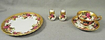Royal Chelsea Golden Rose Tea Cup Saucer Plate Salt Pepper Shakers  3983A Five