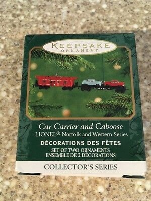 Hallmark Keepsake Lionel Miniature Train Ornaments Car Carrier and Caboose 2001