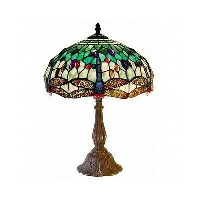Tiffany Style Stained Glass Table Lamp Vintage Antique Handcrafted Light Fixture