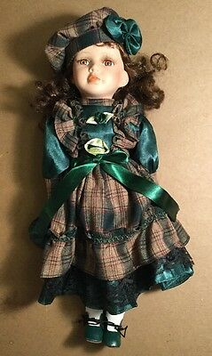 """Porcelain Doll - Girl In Green Plaid Dress With Beret - KB16815-1 - 16"""" Tall"""