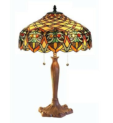 Tiffany Style Stained Glass Table Lamp Elegant Light Fixture Handcrafted Classic
