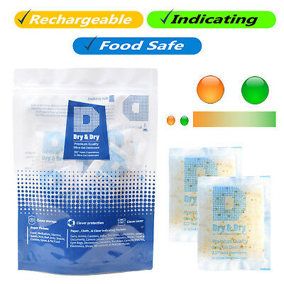 "10 gram X 100 PK ""Dry & Dry"" Food Grade Orange Indicating Silica Gel Packets"