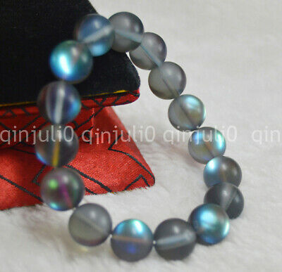 12mm Natural Gray Gleamy Rainbow Moonstone Round Gems Beads Bracelets J3229