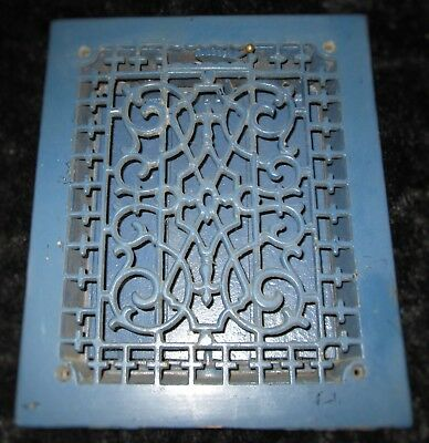 Antique VICTORIAN CAST IRON Register Air Return Heat Grate Gothic Pattern Vent