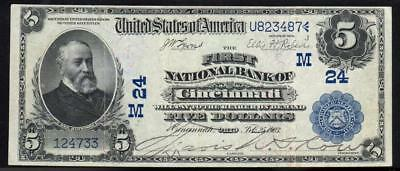 1902 $5 CINCINNATI, OH Date Back National Currency  124733