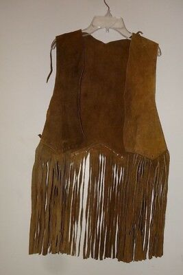 VINTAGE Western Tan Hippie Suede Leather Fringe Vest  Well Worn Hallowoween  S M