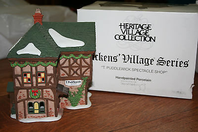 """Dept 56 Dickens Village """"T. Puddlewick Spectacle Shop"""" Mint In Box 58331"""