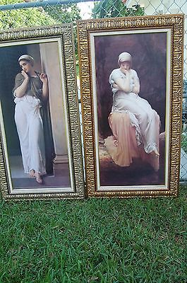 Beautiful Vintage Set (2)  Victorian Women Portrait Print Framed Artwork Large
