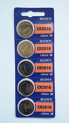 5 NEW CR2016 SONY BATTERY - Free Shipping Worldwide - Expiration Year: 2026