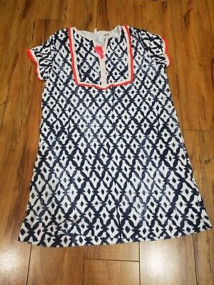 Crew Cuts Navy / White Bright Orange Beach Cover Up Kid Size 8