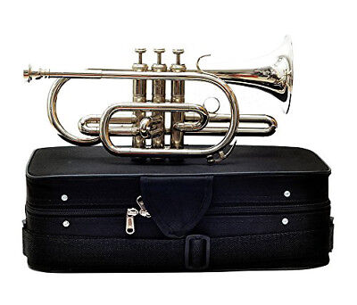 for sale bb pitch nickel plated Indian cornet with hard case + mouth piece