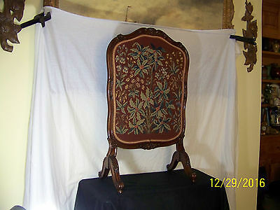 Antique Fire Screen c19th Century French Hand Woven Carved Mahogany Stand