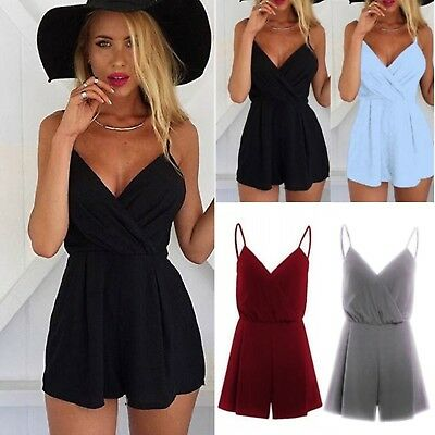 Women V Neck Rompers Jumpsuit Shorts Party Mini Playsuit Summer Evening Beach