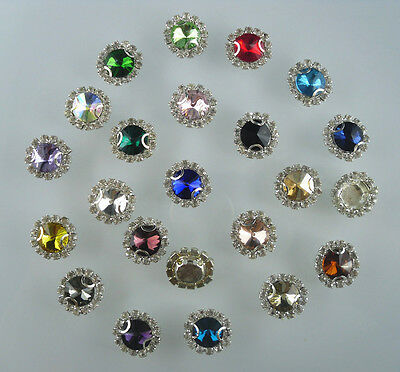 10mm glass crystal Faceted Round Jewels around clear rhinestones silver