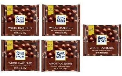 Ritter Sport WHOLE HAZELNUT chocolate square bars 100g (Pack of 5)