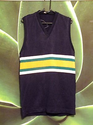 Vintage/Retro Mens Footy Top. Navy Blue with Green Yellow & White. Size S-M