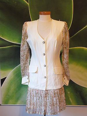 Vintage/Retro Priority 2 piece skirt & top set. Brown & Cream Floral. Feminine