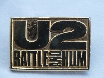 Collectable  Vintage / Retro U2 Rattle & Hum 1988 Badge. Gold tone.