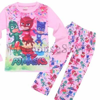 Girls Pj Masks Pjs Kids Winter Sleepwear Owlette Gekko Catboy Sizes 4 - 7
