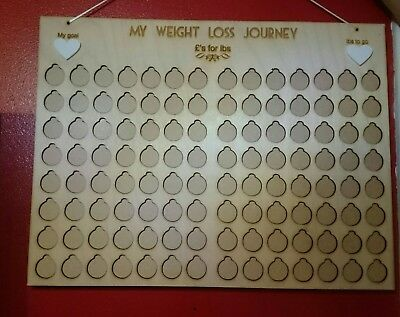 £'s for lbs weight loss journey board chart tracker motivation plaque wood tally