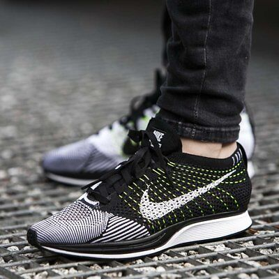 pretty nice 64d1e a9eb5 Men s Nike Flyknit Racer Running Oreo Sneakers New, Black White Volt  526628-011