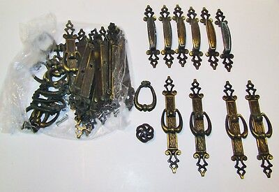 Vintage Drawer Pulls / Handles, Non-Ferrous Metal w/ Antique Brass Finish