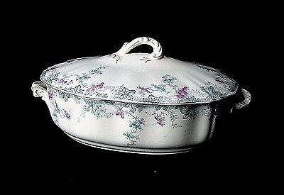 Large J&G Meakin Hanely England Semi Porcelain Ironstone Covered Dish Circa1890+