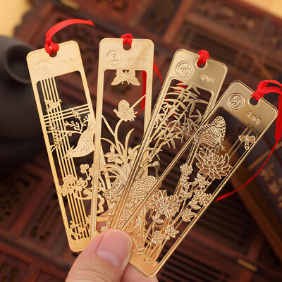 Chinese Style Polished Metal Flowers Bookmarks For Gift Present Souvenirs Gifts